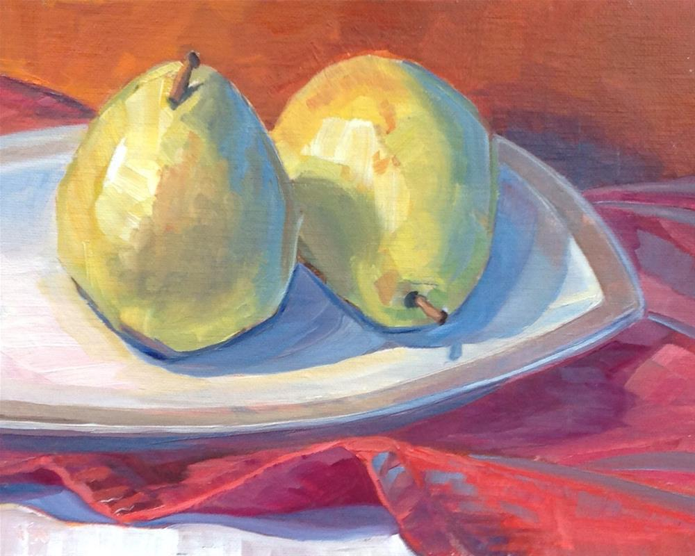 """Two Pear"" original fine art by Valerie Orlemann"