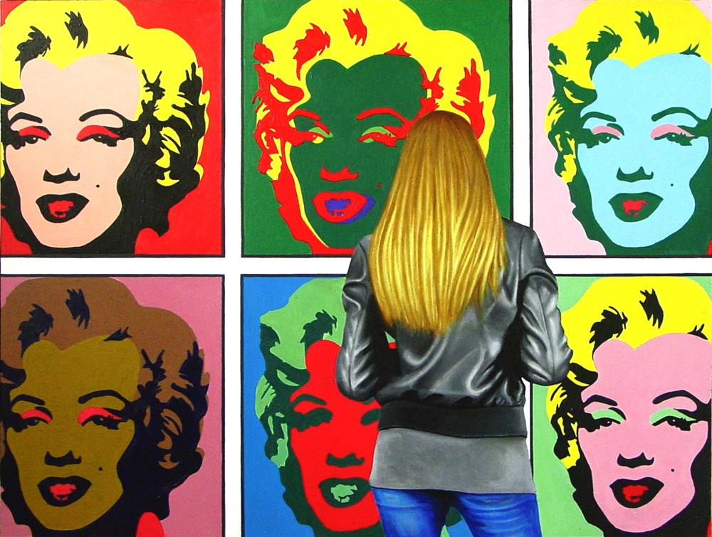 """6 Marilyns- Painting Of Woman Enjoying Painting By Andy Warhol"" original fine art by Gerard Boersma"