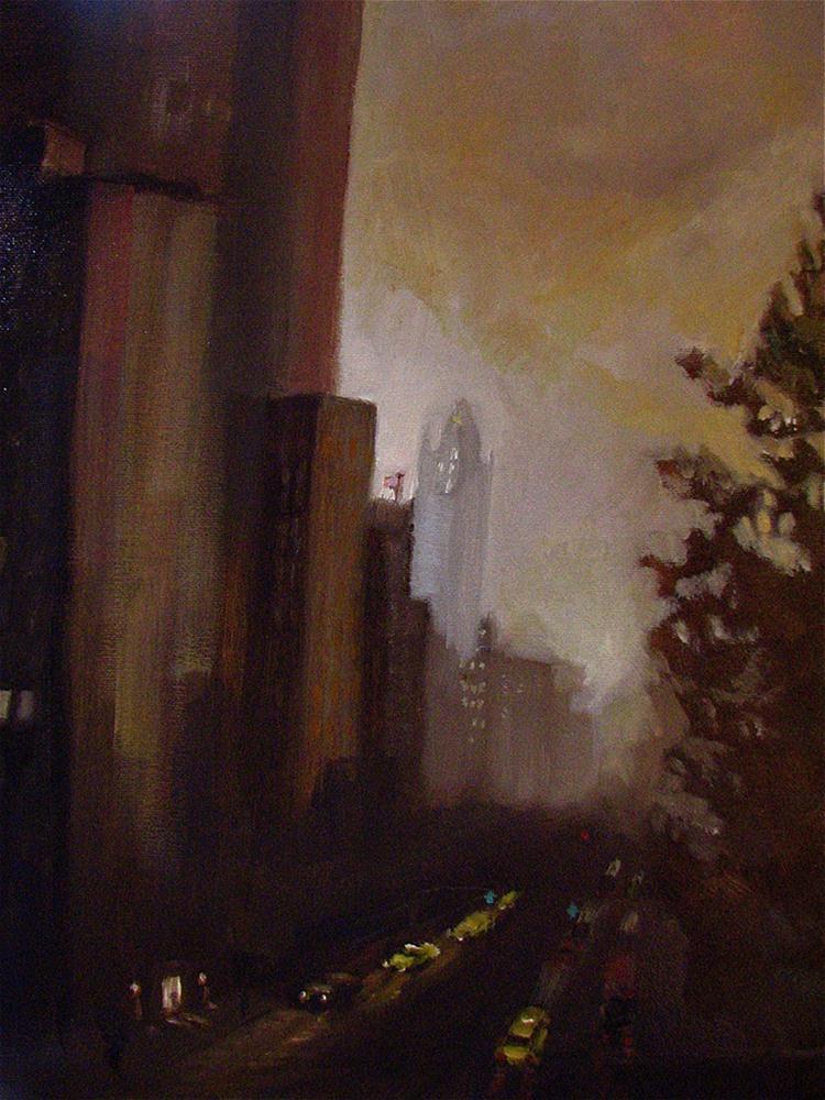 """Storm over Central Park West"" original fine art by Aurelio Saiz"