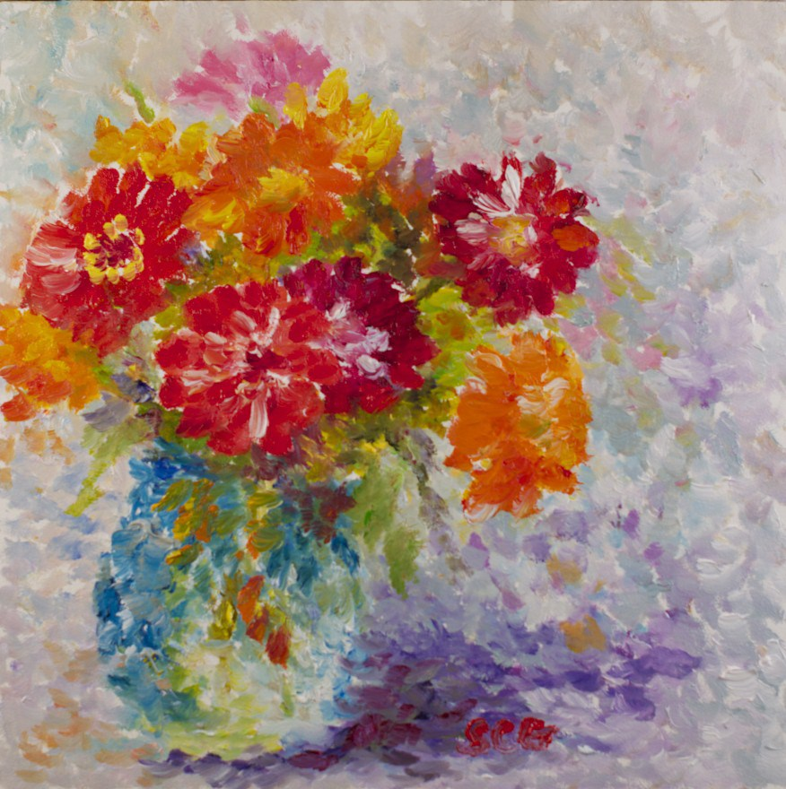 """Zinnia Color Dots #2"" original fine art by Sue Churchgrant"