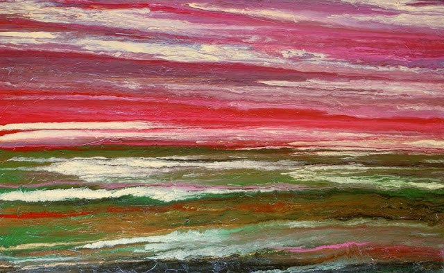 """Original Abstract Landscape, Sunset Painting  Sunset Reflections IV by International Contemporary"" original fine art by Kimberly Conrad"