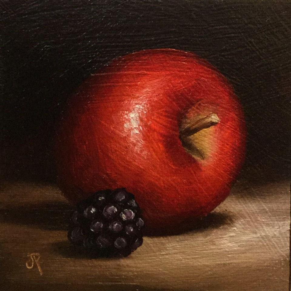 """Little Apple and Blackberry"" original fine art by Jane Palmer"
