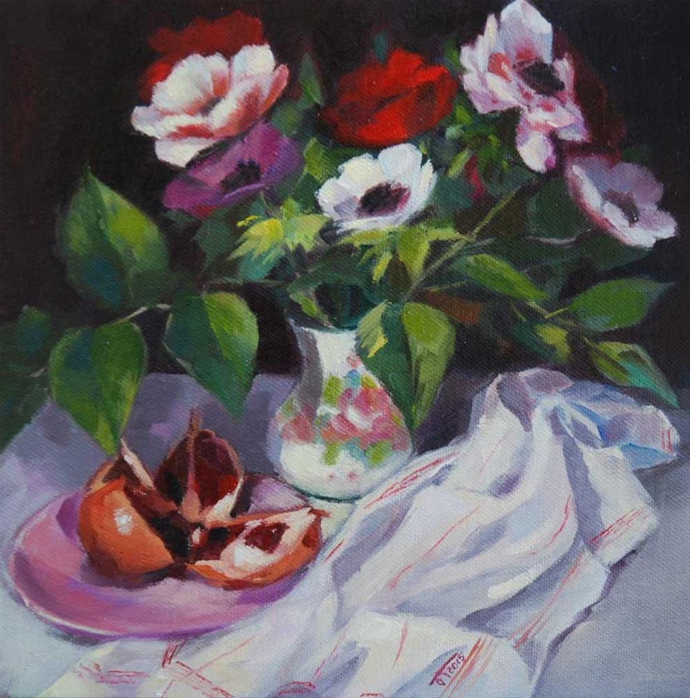"""Anemone flowers and pomegranate"" original fine art by Olga Touboltseva-Lefort"