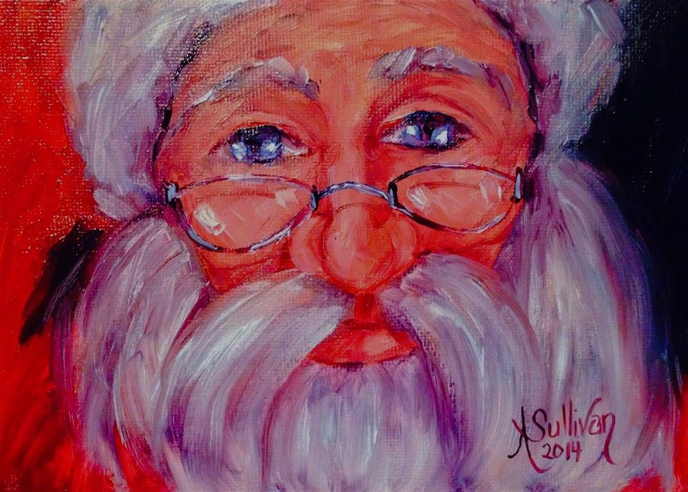 """Jolly Old Saint Nick santa painting by Alabama Artist Angela Sullivan"" original fine art by Angela Sullivan"