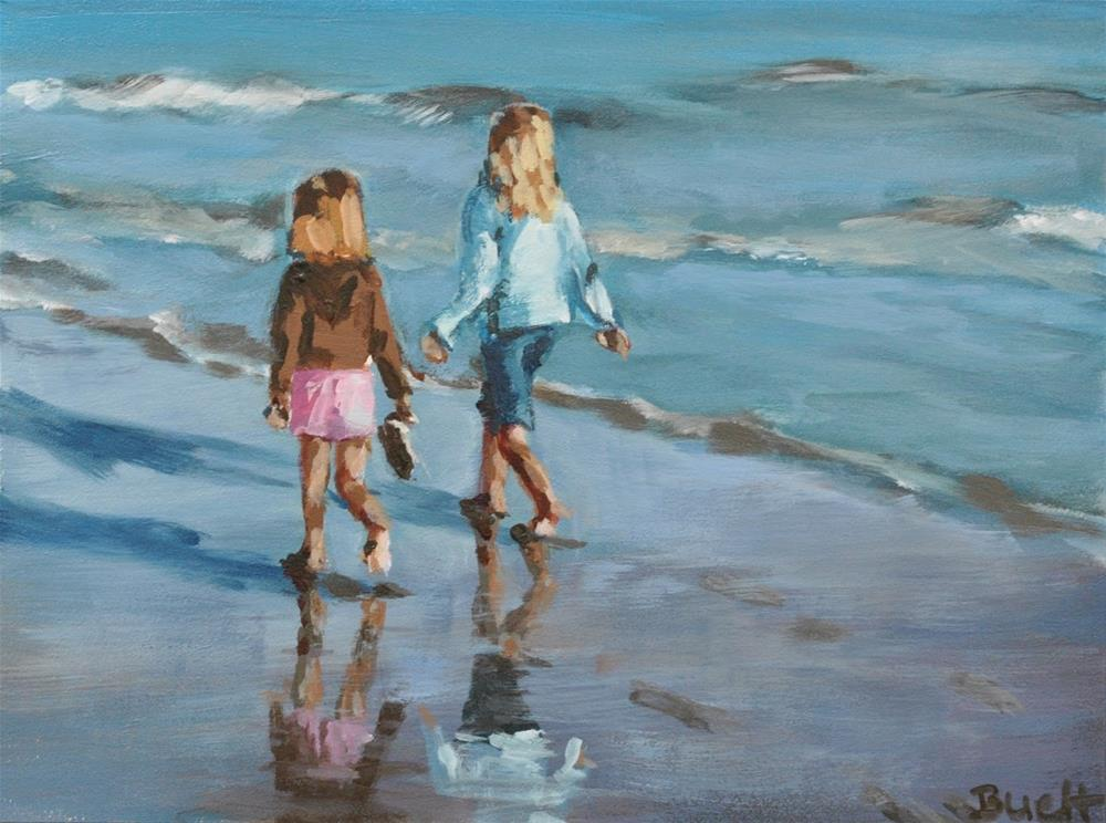 """Walking Santa Cruz Beach"" original fine art by Shari Buelt"
