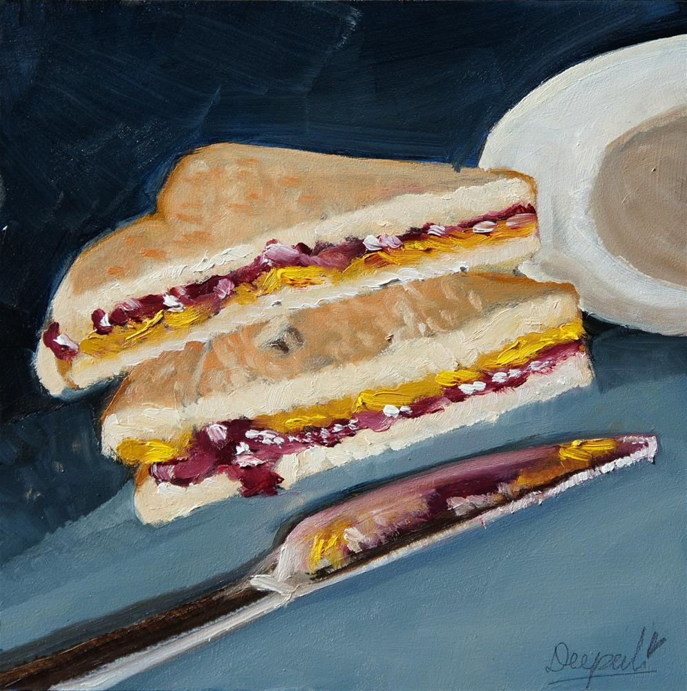 """peanut butter and jelly sandwich"" original fine art by Dipali Rabadiya"