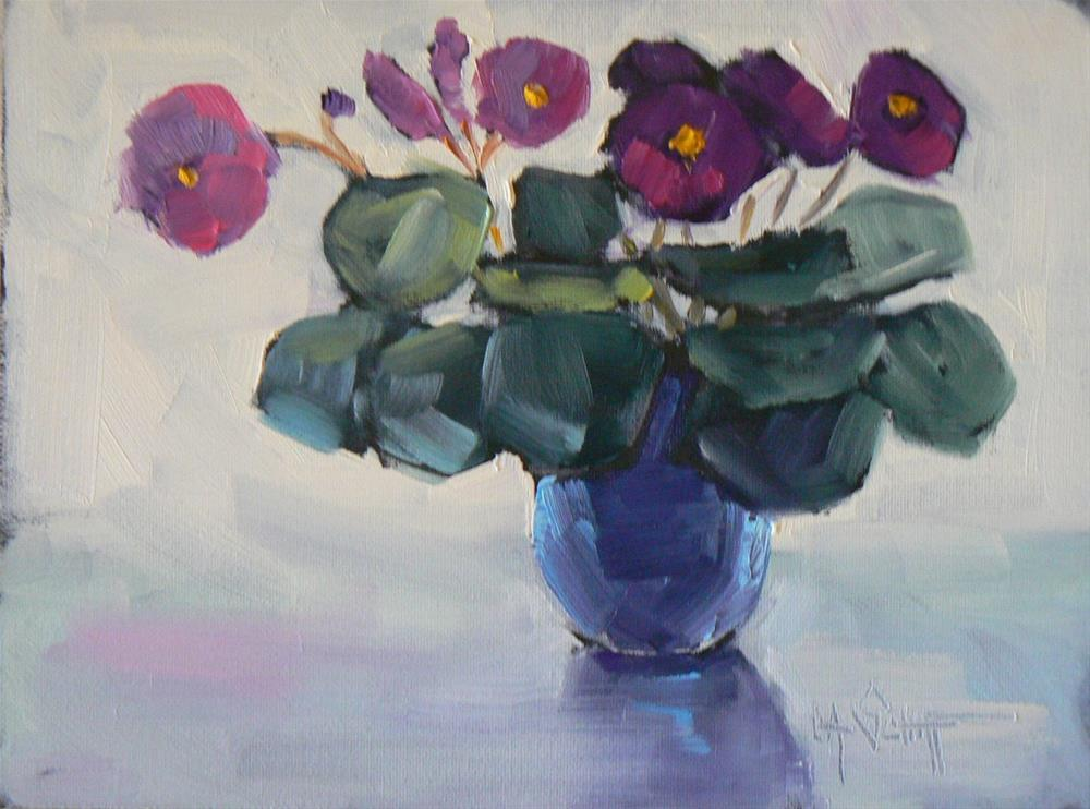 """Painting on Sale, Daily Painting, Small Oil Painting, African Violets, 6x8 Oil"" original fine art by Carol Schiff"