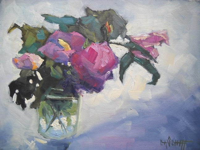 """Small Floral Still Life, Rose of Sharon with Back Lighting by Carol Schiff, 6x8 Oil"" original fine art by Carol Schiff"