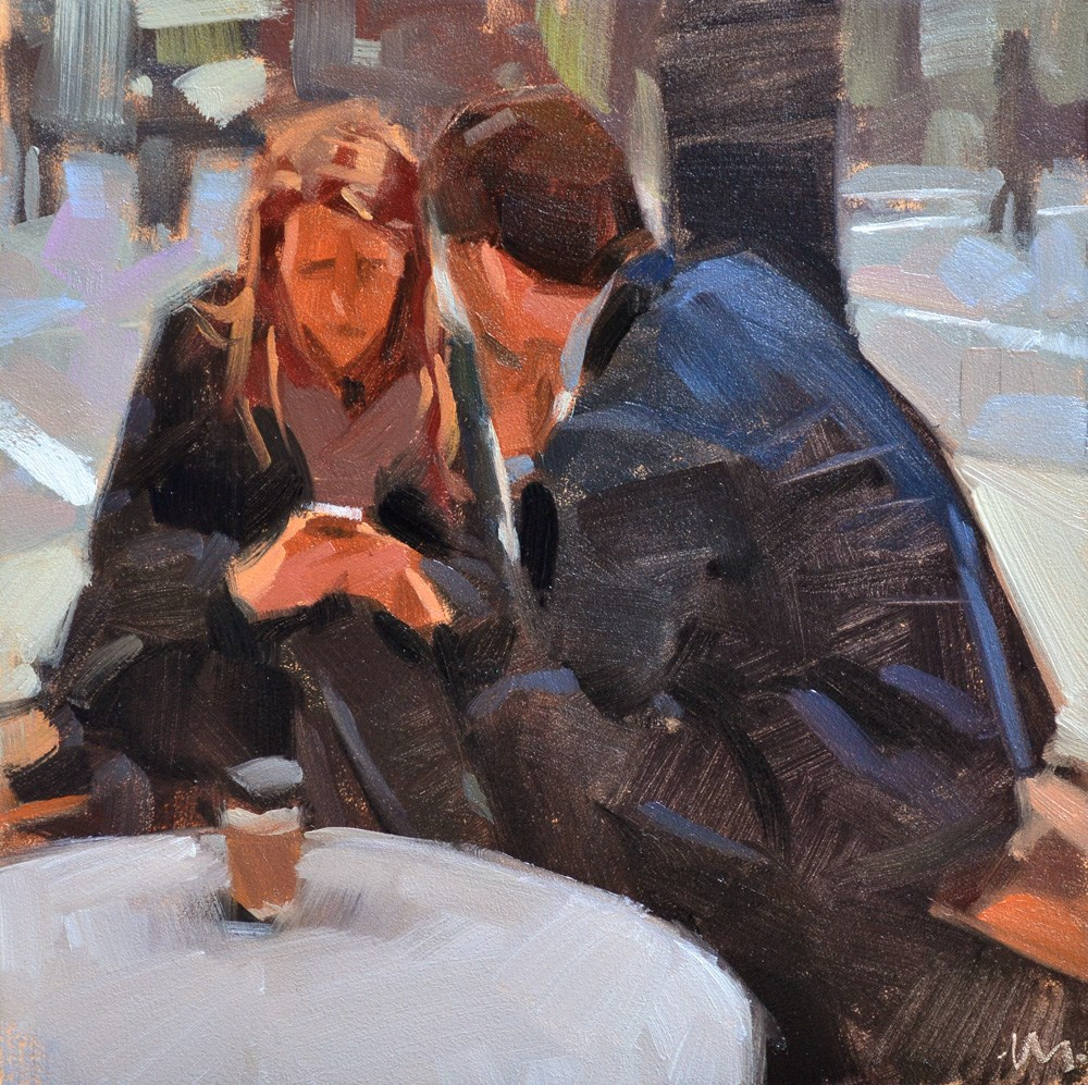 """You, Me and my iPhone"" original fine art by Carol Marine"