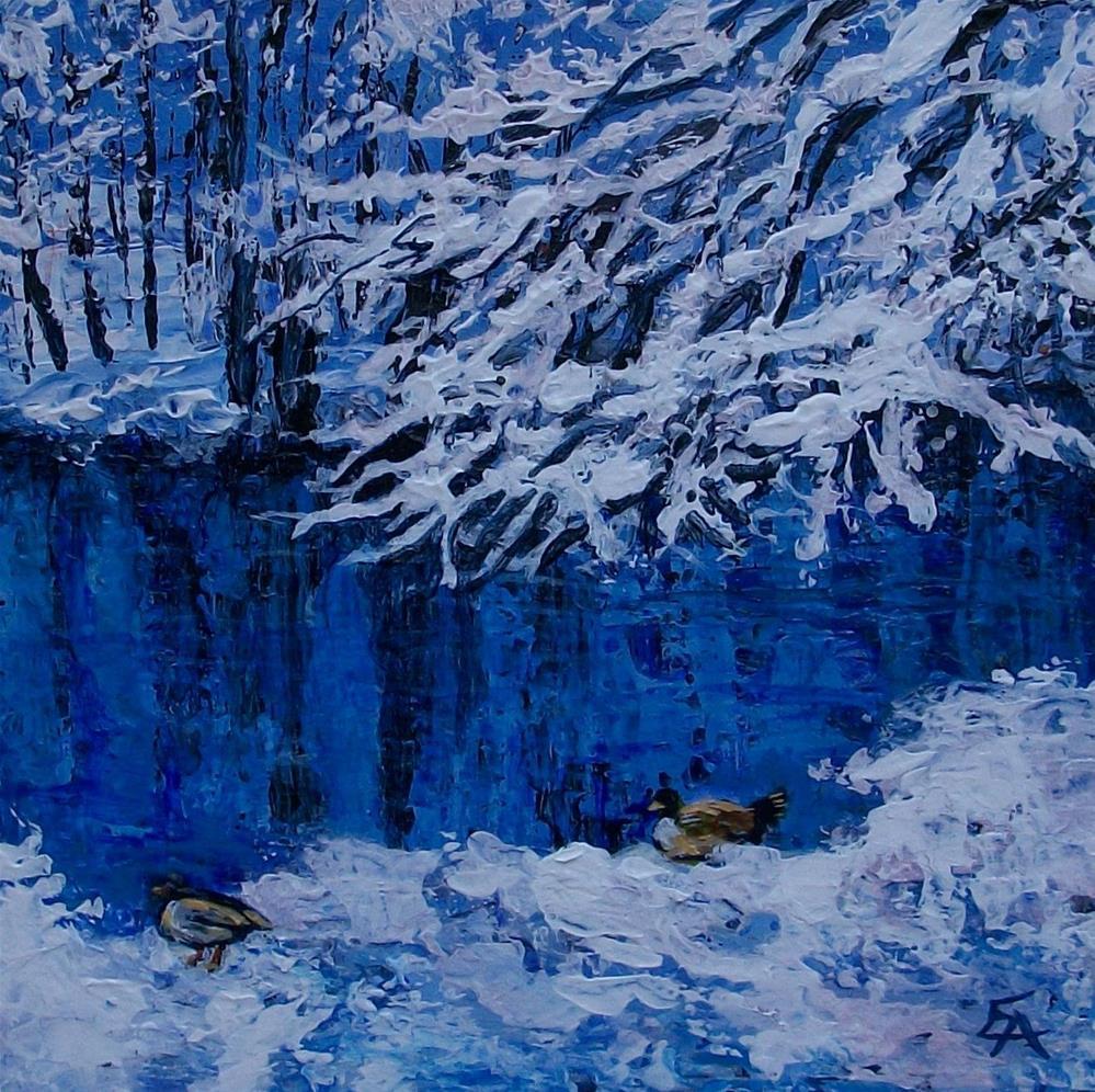 """Frozen Duck Pond Palette Knife Painting"" original fine art by Elizabeth Elgin"