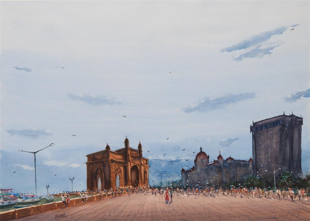 """Gateway of India, Mumbai"" original fine art by Tesh Parekh"