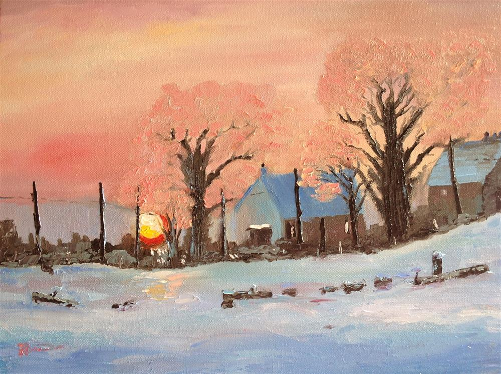 """Snowy Morn on the Farm"" original fine art by Rose Brenner"