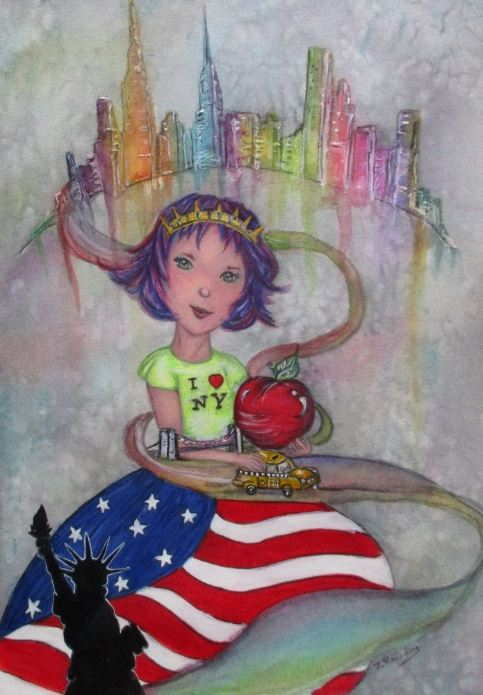 """New York Princess"" original fine art by Julie Rabischung"
