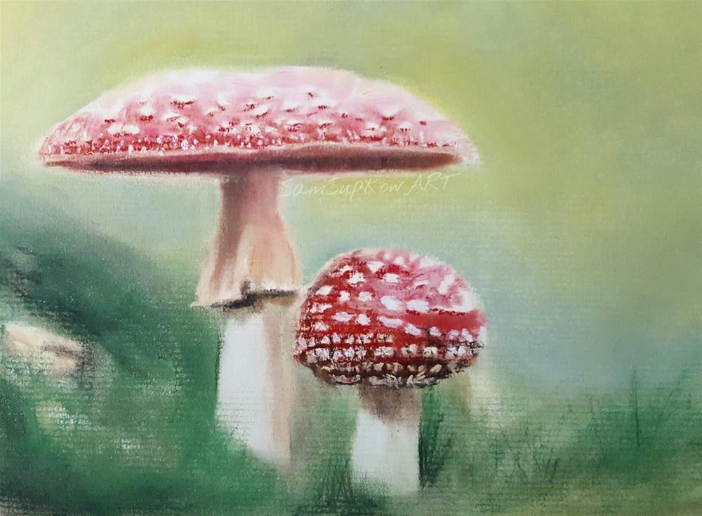 """Red Mushrooms"" original fine art by Sam Supkow"