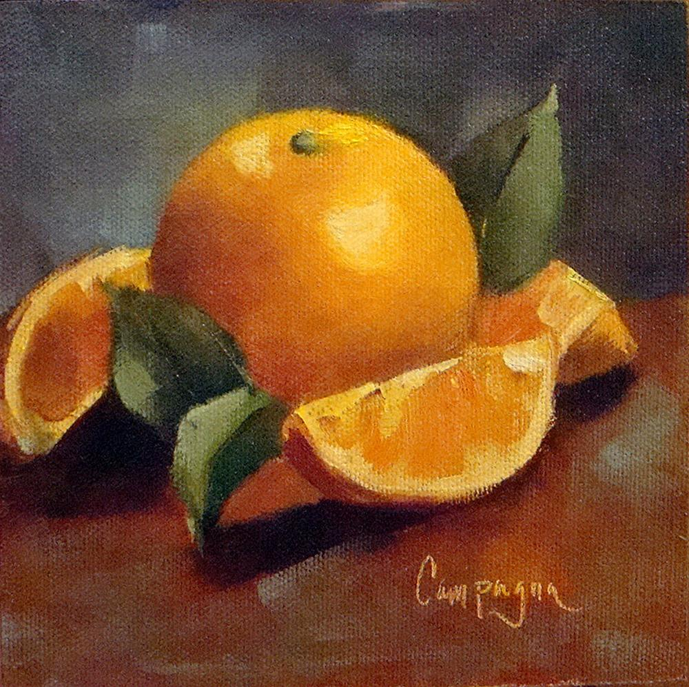 """Orange and Slices"" original fine art by Roseanne Campagna"
