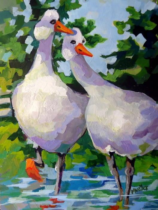 """Gossip Birds-the Next Generation"" original fine art by Laurie Mueller"