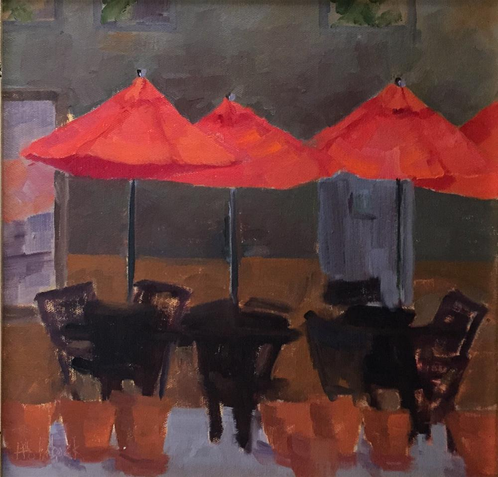 """Cafe Umbrellas"" original fine art by Pam Holnback"