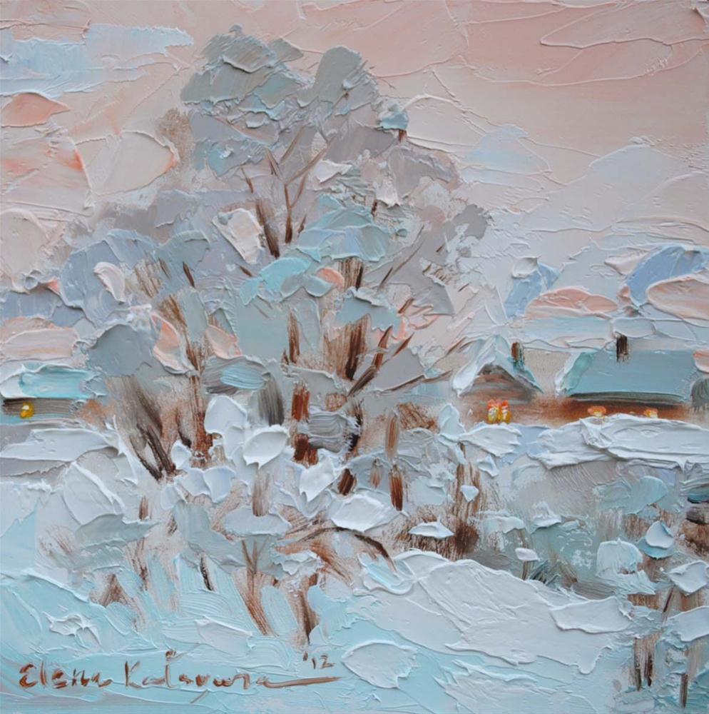 """Winter Village"" original fine art by Elena Katsyura"