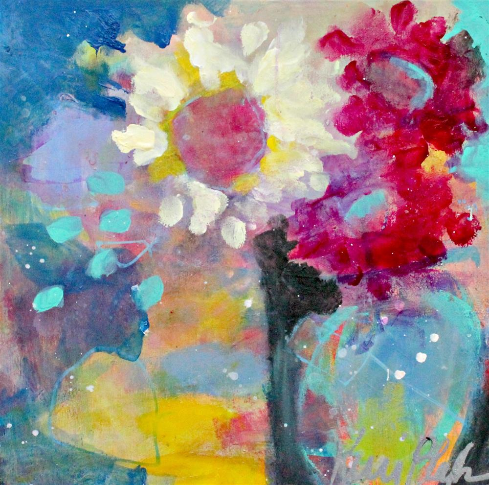 """Two Vases, Three Flowers"" original fine art by Kerri Blackman"