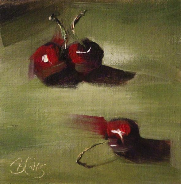 """Three Cherries"" original fine art by Pamela Blaies"