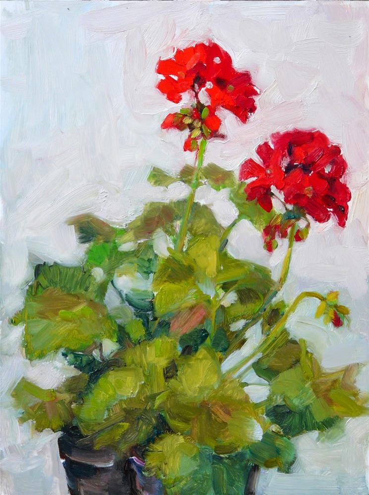 """Spring Geraniums,still life,oil on canvas,12x9,price$450"" original fine art by Joy Olney"