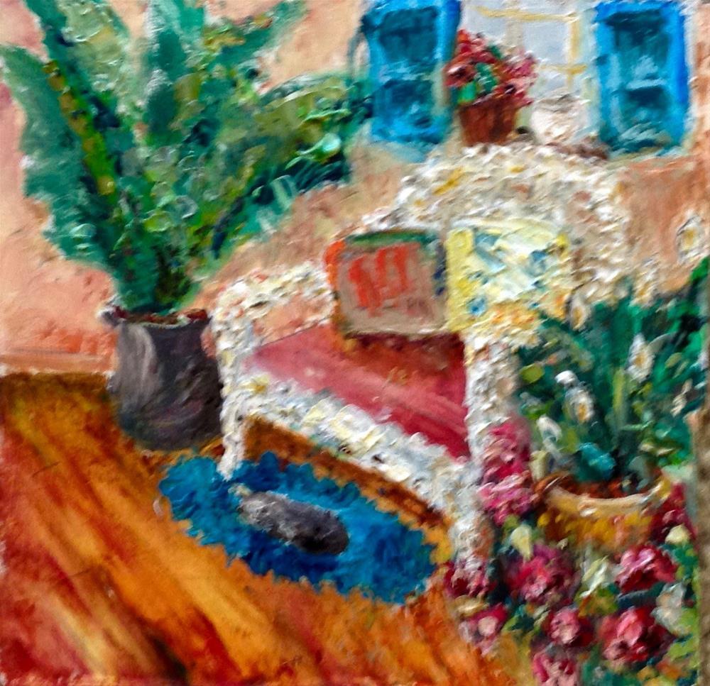 """Where Sleeping Cats lie"" original fine art by Judy Usavage"