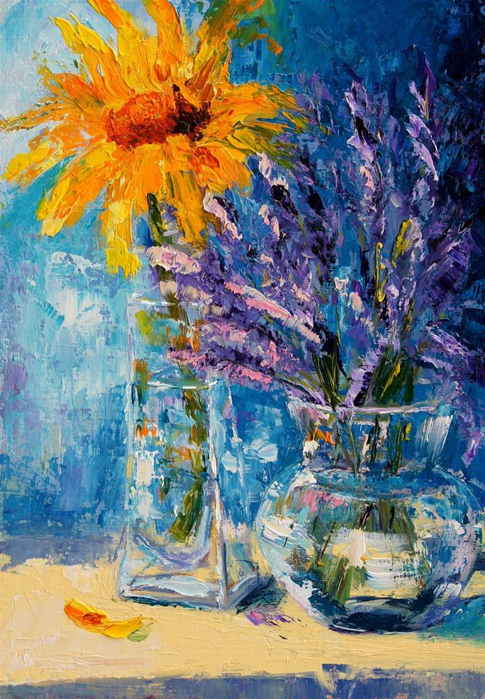 """A taste of summer sunflower and lavender painting"" original fine art by Marion Hedger"