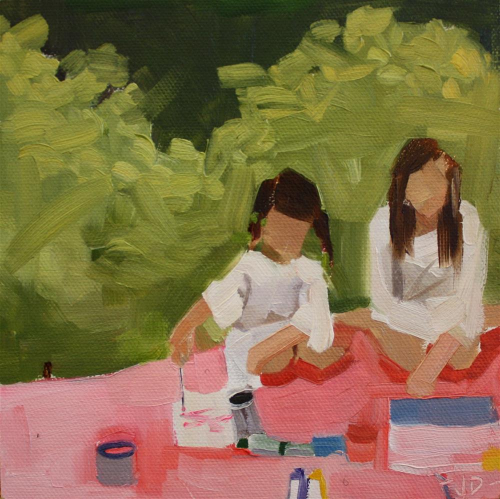 """Girls Painting"" original fine art by Jessie Dodington"