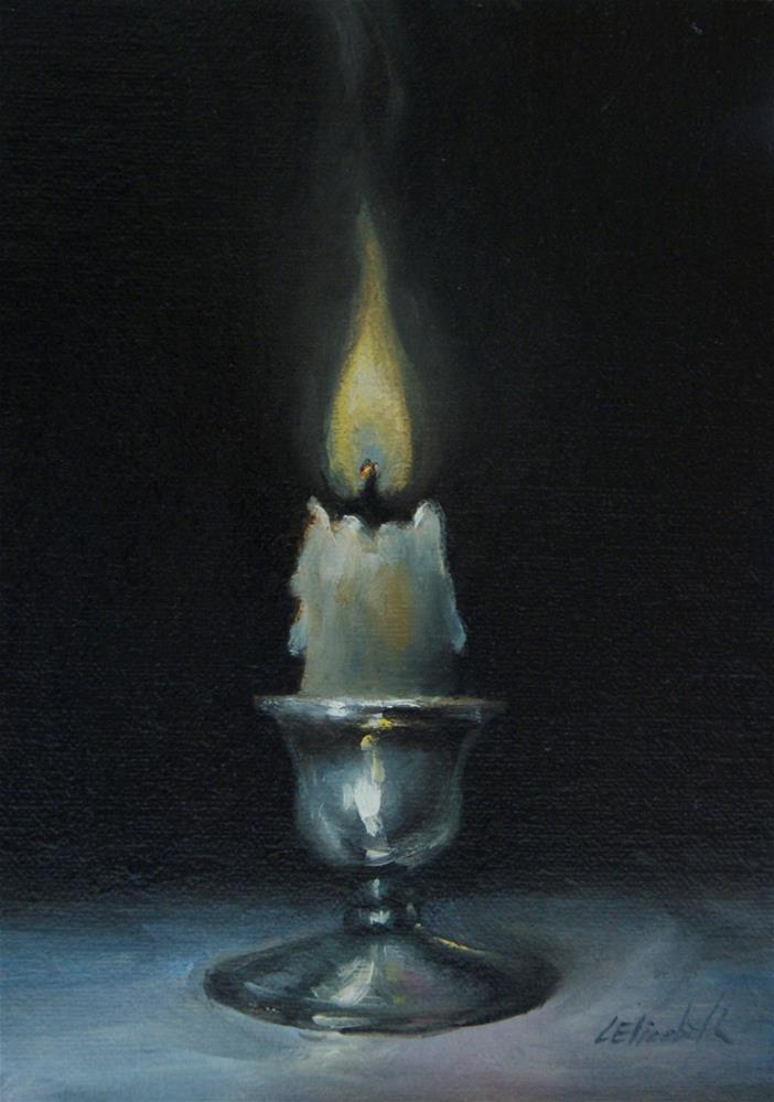 """Candle Still Life,  Oil on 4x6 Linen Panel"" original fine art by Carolina Elizabeth"