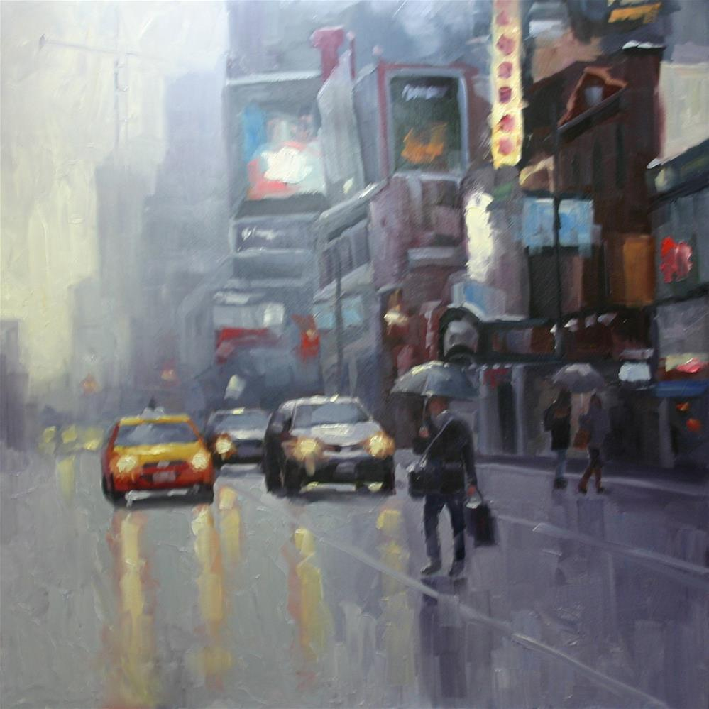 """Rain on Yonge, Dundas Square, Toronto"" original fine art by Catherine Jeffrey"