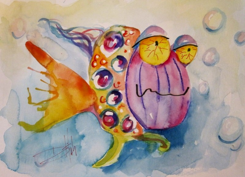 """Tired Fish"" original fine art by Delilah Smith"