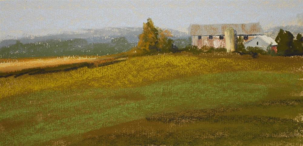 """""""Morning Light on Barn - 100 strokes"""" original fine art by Susan Klabak"""