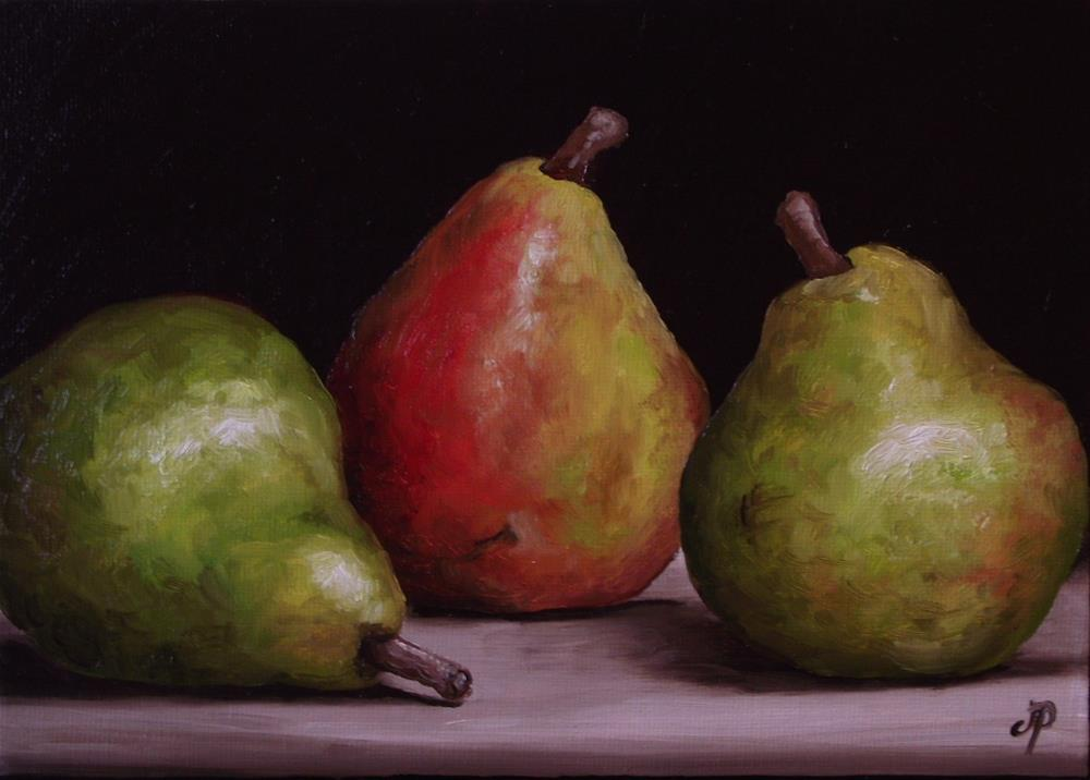 """Three Comice Pears"" original fine art by Jane Palmer"