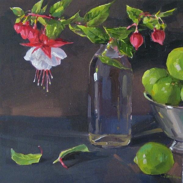 """Fuchsia Cuttings"" floral oil painitng original still life flowers and limes original fine art by Sarah Sedwick"