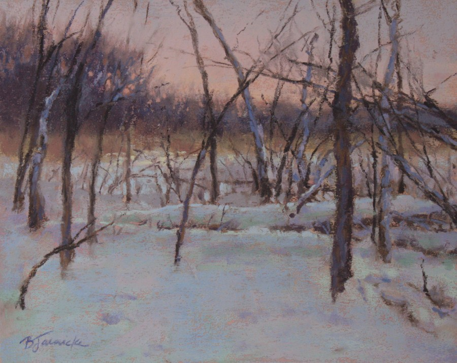 """Wintry Dusk"" original fine art by Barbara Jaenicke"