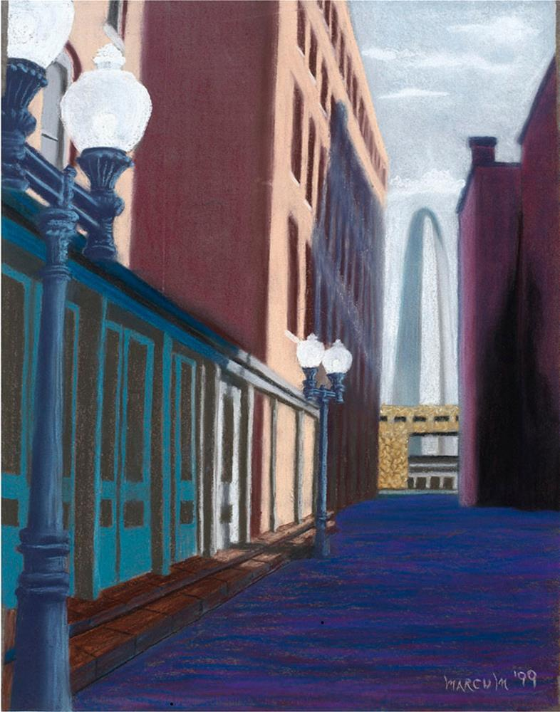 """Alley view of the Arch"" original fine art by John Marcum"