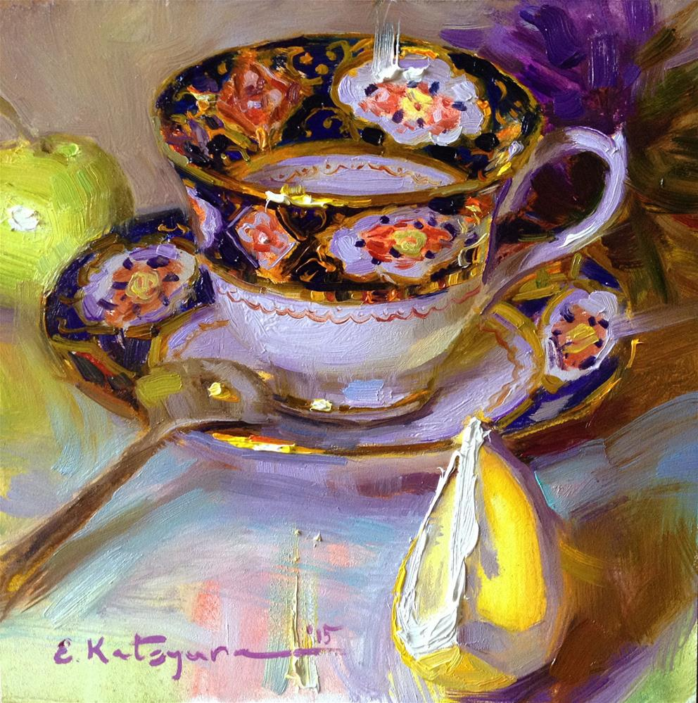 """Teacup, Apple, Slice of Lemon"" original fine art by Elena Katsyura"