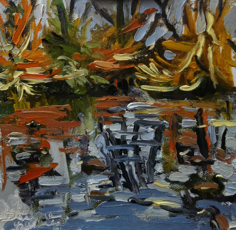 """The Pond, oil on Ray mar, 6x6"" original fine art by Darlene Young"