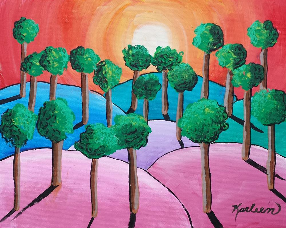 """Trees in the Sunset"" original fine art by Karleen Kareem"