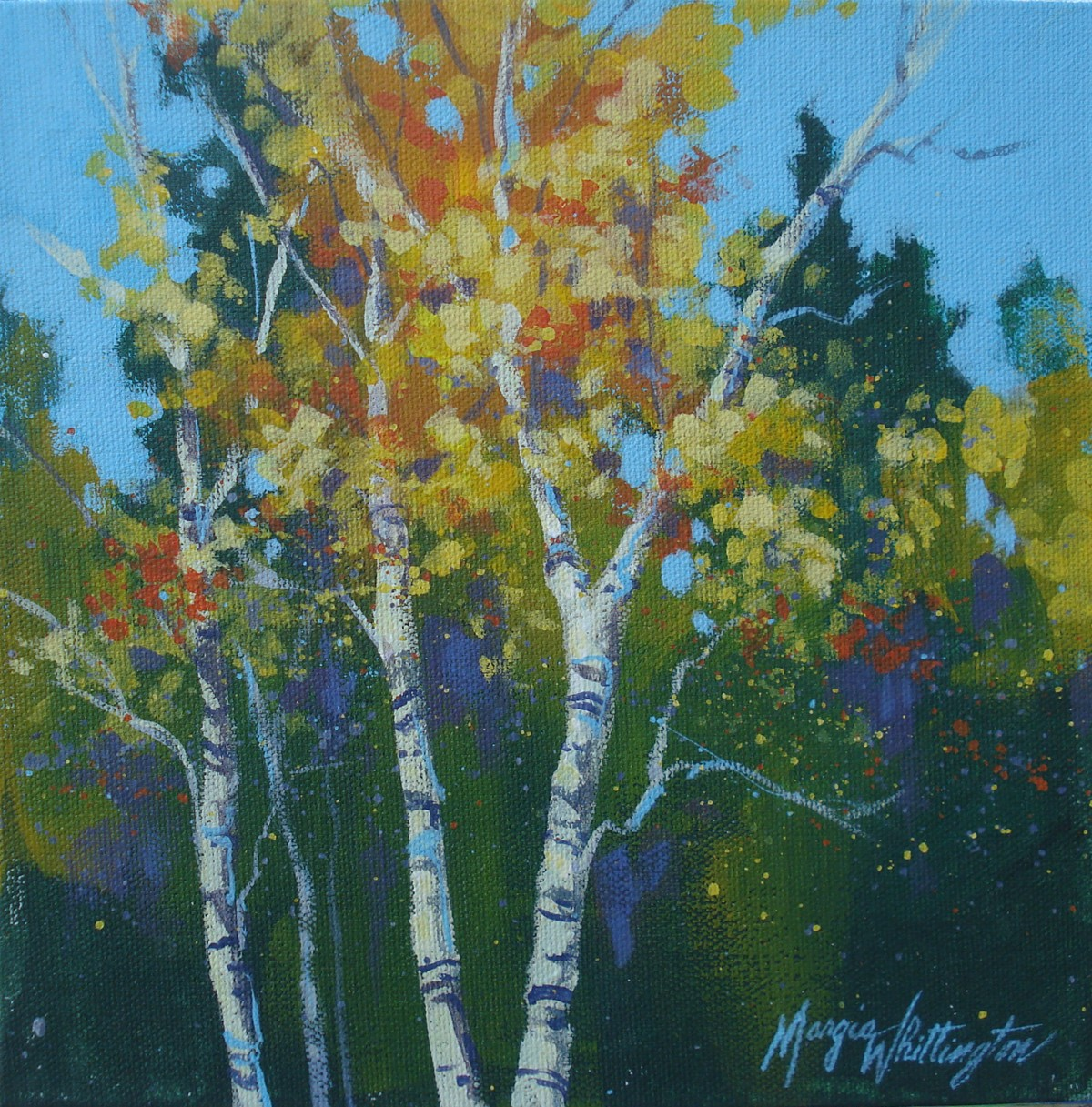 """Triptych, Aspens 1"" original fine art by Margie Whittington"