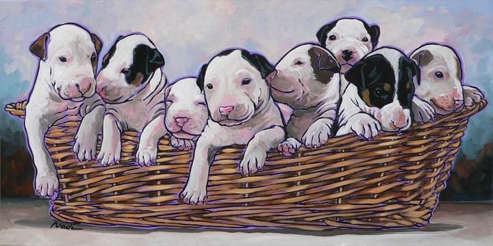 """Bull Terrier Puppies"" original fine art by Nadi Spencer"
