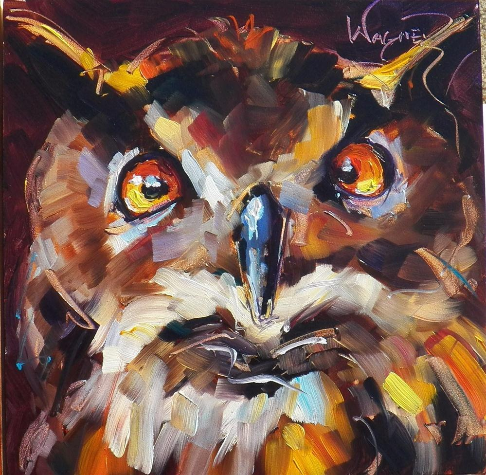 """CONTEMPORARY OWL OIL PAINTING by OLGA WAGNER"" original fine art by Olga Wagner"