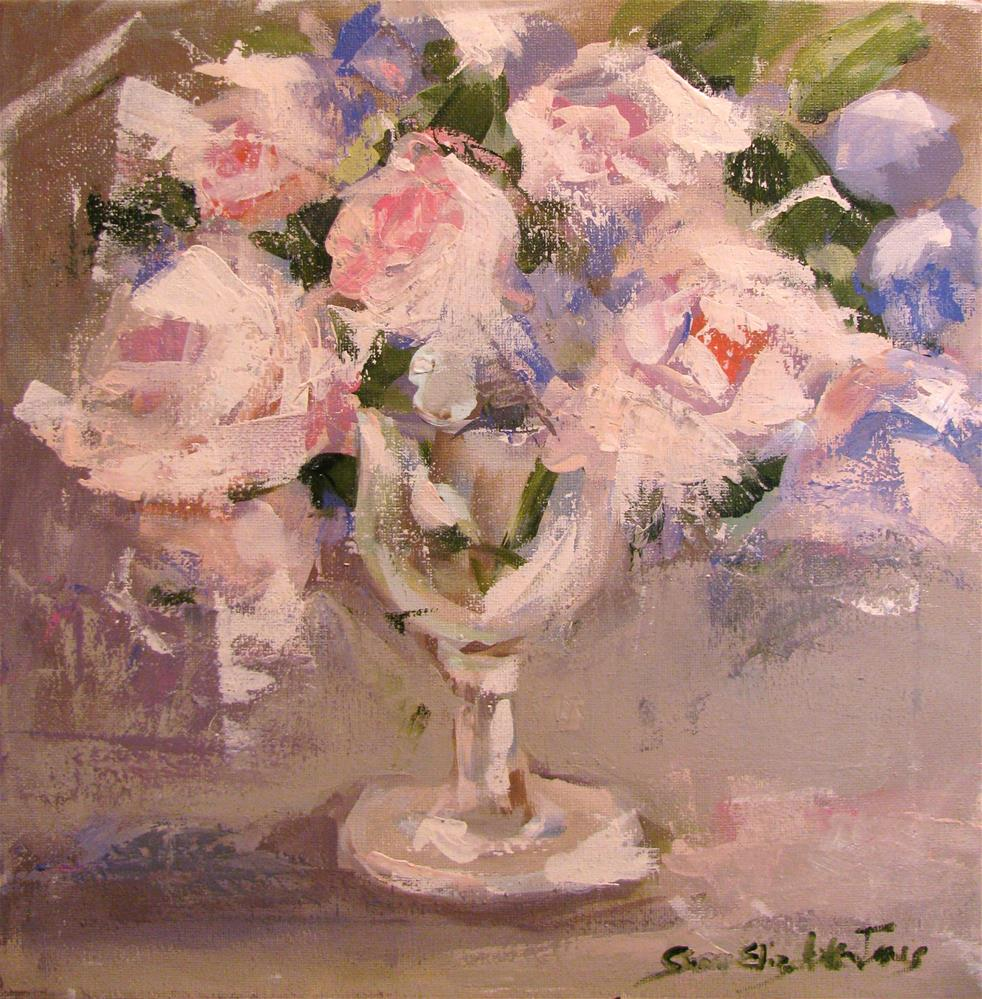 """Pink Roses"" original fine art by Susan Elizabeth Jones"