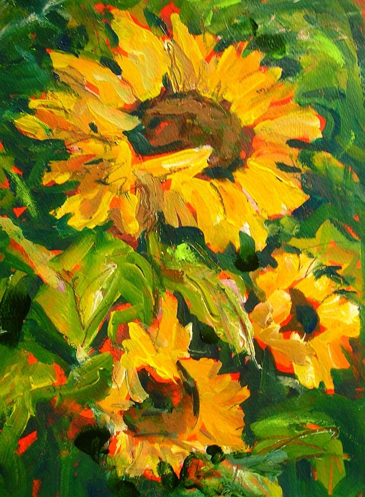 """Just Sunflowers"" original fine art by Mary Schiros"