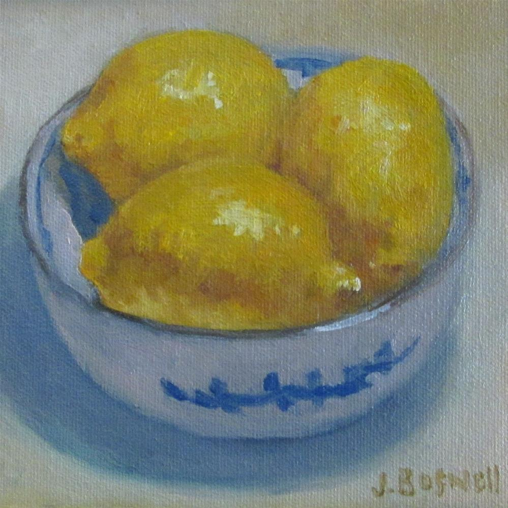 """Lemons in Blue and White Bowl"" original fine art by Jennifer Boswell"