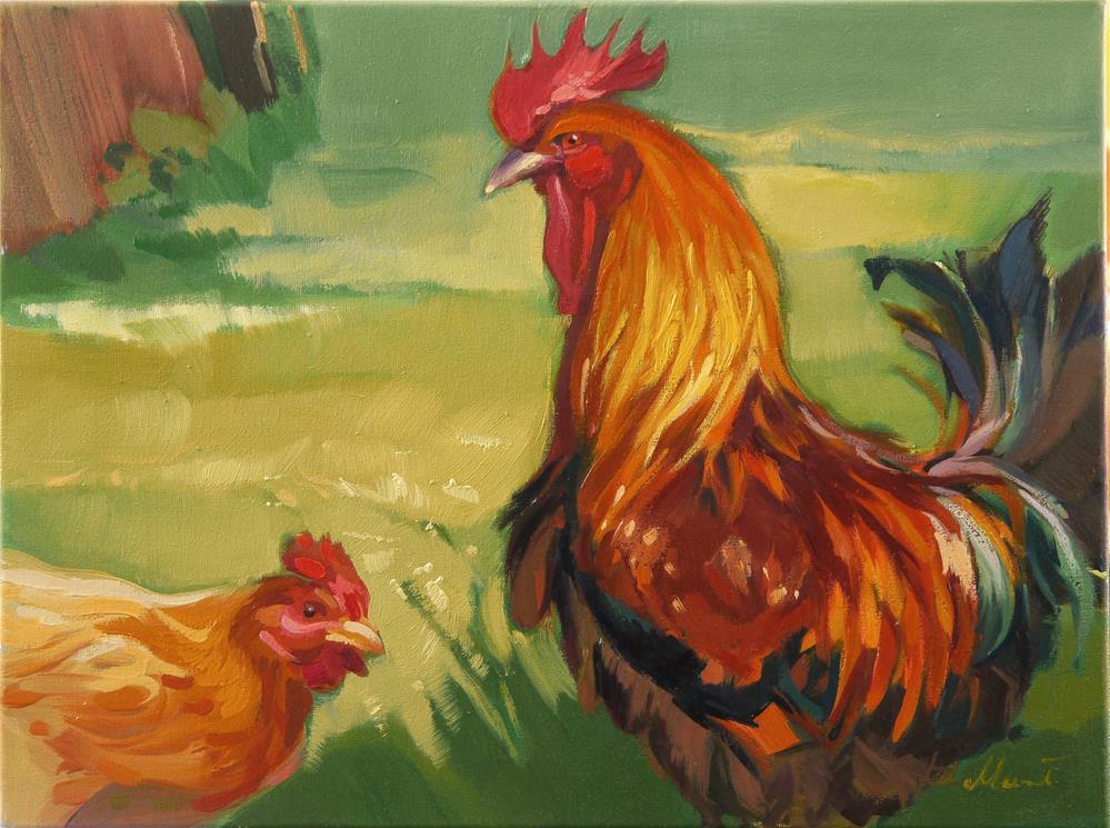 """""""rooster&hen"""" original fine art by Beata Musial-Tomaszewska"""