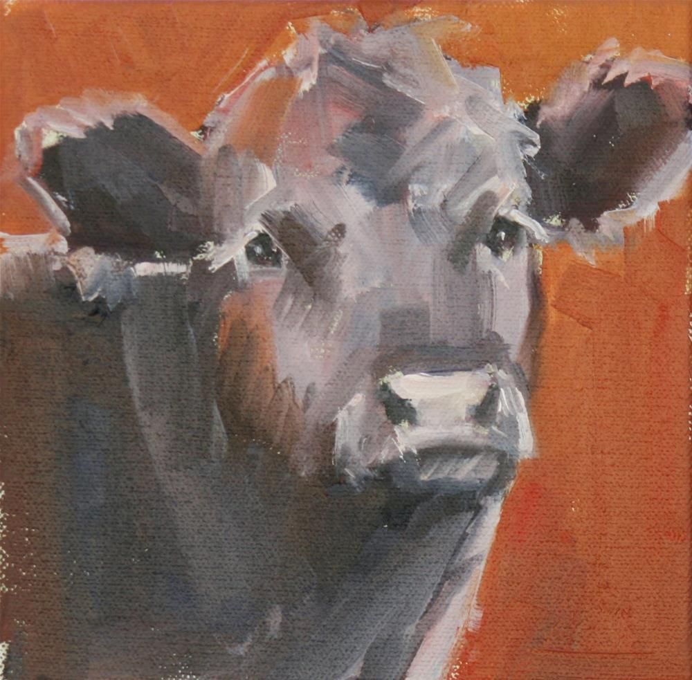 """angus on red"" original fine art by Carol Carmichael"