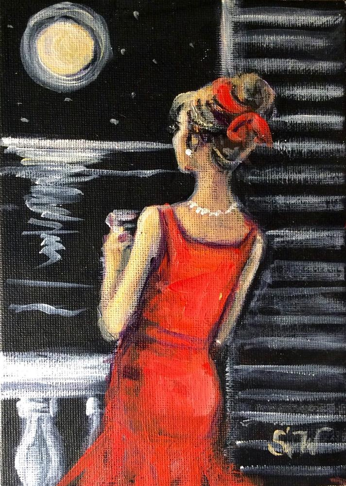 """Woman in red"" original fine art by Sonia von Walter"