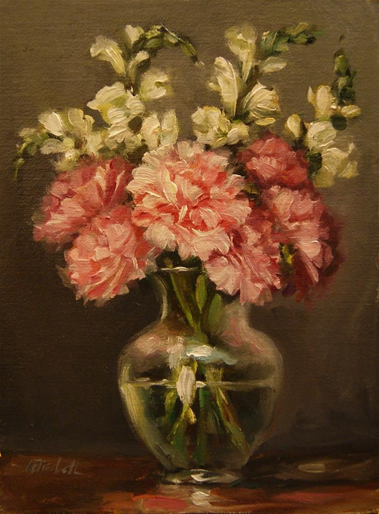 """Still Life with Pink Carnations and Snap Dragons,  Oil on 6x8 Linen Panel"" original fine art by Carolina Elizabeth"