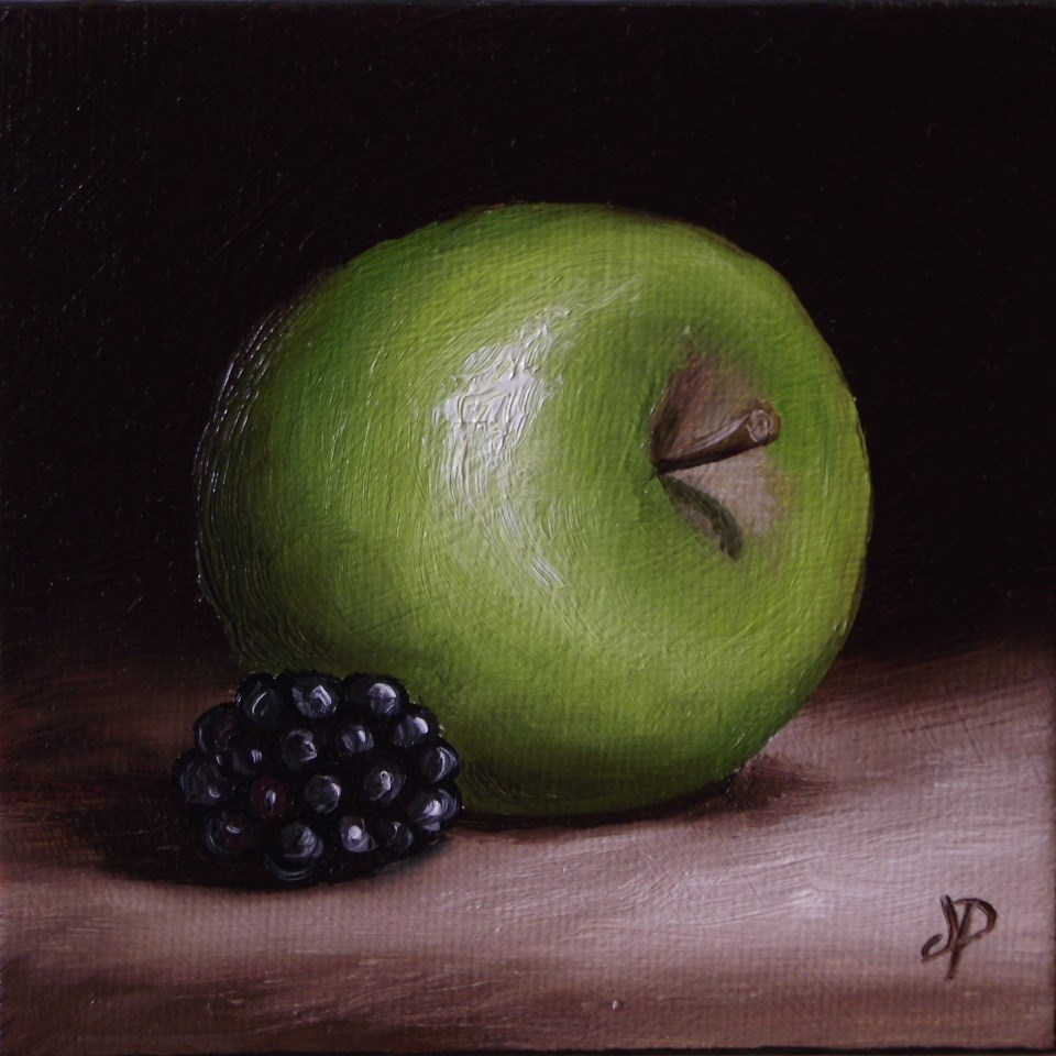 """Little Apple and Blackberry"" original fine art by Jane Palmer"